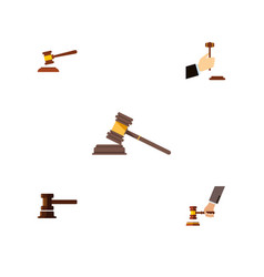 flat icon hammer set of court hammer government vector image