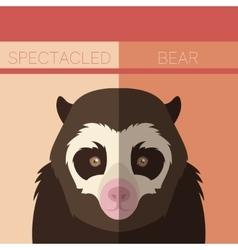 Flat postcard with Spectacled Bear vector