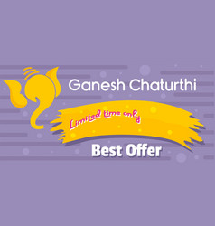 Ganesh chaturthi best offer banner horizontal vector