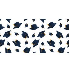 graduation cap seamless pattern vector image