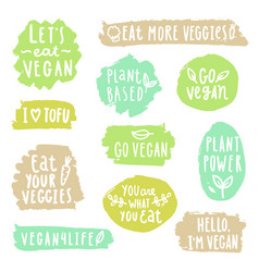 Grunge vegan labels vector