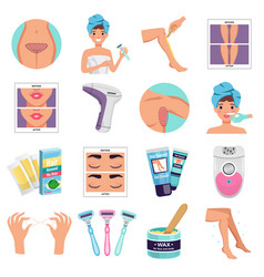 hair removal icons set vector image