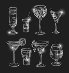 hand dranw alcoholic cocktail with lights vector image