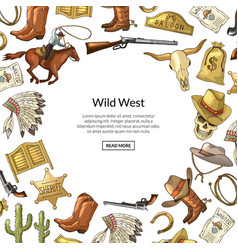 hand drawn wild west cowboy elements vector image
