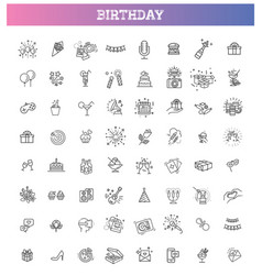 happy birthday party line icon set vector image