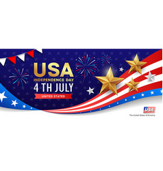 Happy independence day flag usa banner design vector