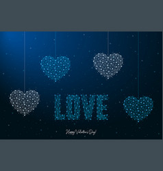 happy valentines day with love word and heart vector image