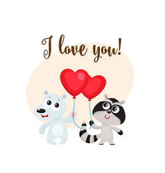 i love you card with bear raccoon heart shaped vector image