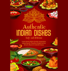 Indian cuisine menu cover authentic india dishes vector