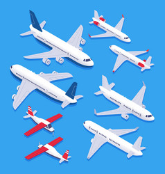 Isometric airplanes passenger jet airplane vector