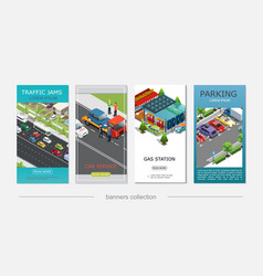 Isometric car service vertical banners vector