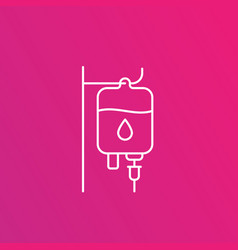 iv bag medical drip line icon vector image