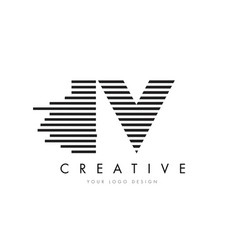 iv i v zebra letter logo design with black and vector image