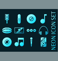 karaoke set icons blue glowing neon style vector image