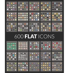 Large icons set 600 pictograph of flat vector