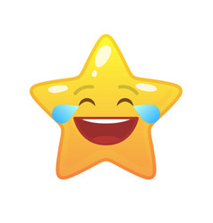 Laughing tears star shaped comic emoticon vector