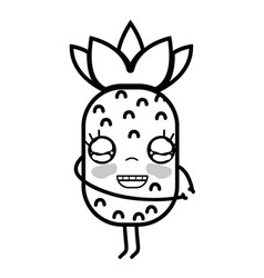 Line kawaii cute happy pineapple fruit vector
