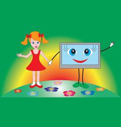Little beautiful girl holding a tv set vector