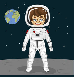 little boy astronaut standing on the moon surface vector image