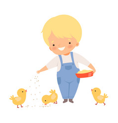 Little boy feeding chickens on farm vector