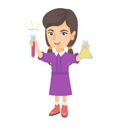 little caucasian girl holding test tube and beaker vector image