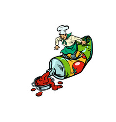 little chef squeezes ketchup cooking food vector image