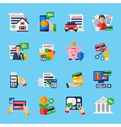 Loan debt flat color icons set vector