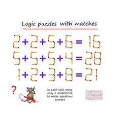 logical puzzle game with matches in each task vector image