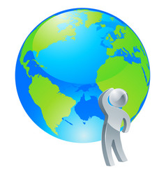 looking up globe silver person concept vector image