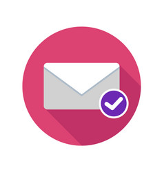 Mail read icon email icon with long shadow vector
