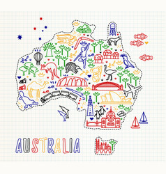 map australia and travel icons australia vector image
