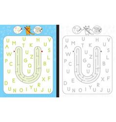 Maze letter u vector