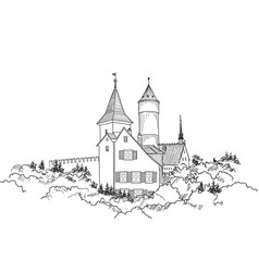 medieval castle landscape ancient castle tower vector image