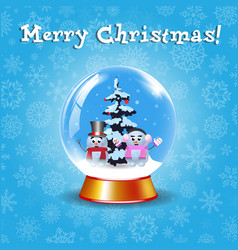 merry christmas greeting card with crystal snow vector image