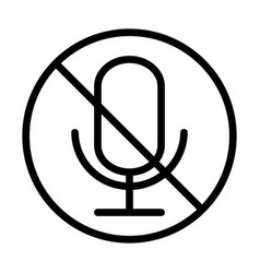 Microphone audio muted sound line style icon vector