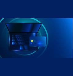 modern futuristic laptop on dark blue background vector image