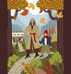 mom leads her child to school on a path vector image