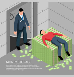 Money storage isometric vector
