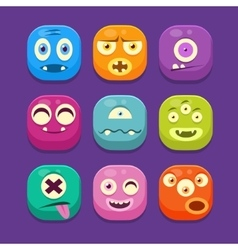 Monster Web Icons Colourful vector image