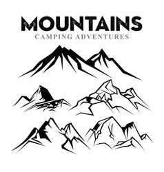 Mountain silhouette set nature or outdoor camping vector