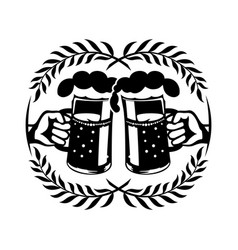 mug with beer in hand vector image