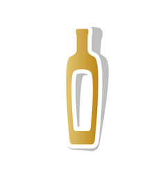 Olive oil bottle sign golden gradient vector