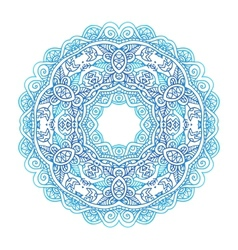 Ornate blue lacy circle pattern vector