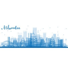 Outline Milwaukee Skyline vector image