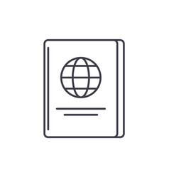 passport line icon concept passport linear vector image
