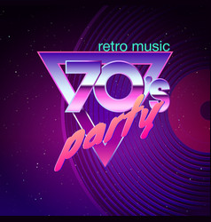 paster template for retro disco party 70s neon vector image