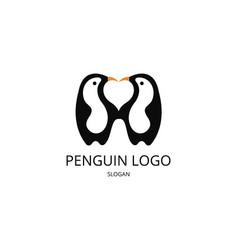 penguin heart logo vector image