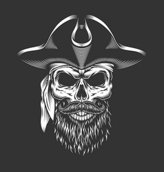 Pirate skull with beard and mustache vector