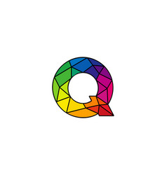 q colorful low poly letter logo icon design vector image