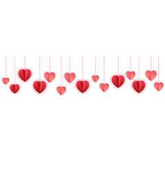 red paper hearts garland border paper cut vector image